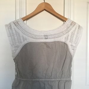 Tops - Cotton Gray & White Lace Cinch Top